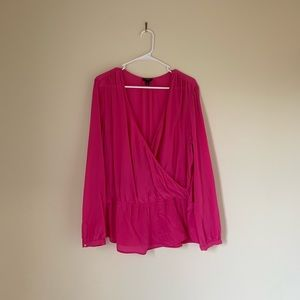 Bright Pink - Colorful Work Silk Blouse